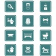 Baby objects icons | TEAL series — Stockvector