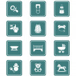 Baby objects icons | TEAL series — Vector de stock