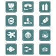 Scuba diving icons | TEAL series — Stock Vector