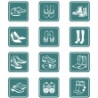 Footwear icons | TEAL series — Stock Vector