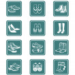 Footwear icons | TEAL series — Stockvectorbeeld