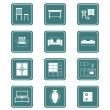Home furniture icons | TEAL series — Stok Vektör