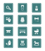 Baby objects icons | TEAL series — Stock Vector