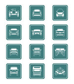 Cars icons | TEAL series — Stock Vector