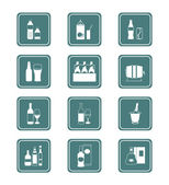 Drinks icons | TEAL series — Stock Vector