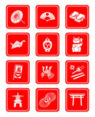 Japanese culture icons — Stock Vector