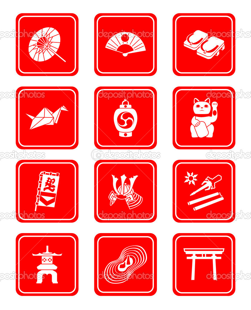 Traditional japanese culture objects icon-set in red — Stock Vector #6593602