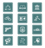 Law and order icons | TEAL series — Stok Vektör
