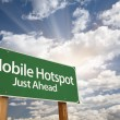 Mobile Hotspot Green Road Sign and Clouds - Stock Photo