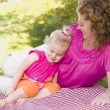 Royalty-Free Stock Photo: Mother and Daughter on Blanket in the Park