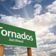 Tornados Green Road Sign - Stock Photo