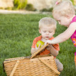 Stock Photo: Brother and Sister Toddlers Playing with Apple and Picnic Basket