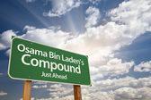 Osama Bin Laden's Compound Green Road Sign — Stockfoto