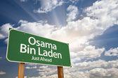 Osama Bin Laden Green Road Sign — Stock Photo