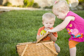 Brother and Sister Toddlers Playing with Apple and Picnic Basket — Stock Photo