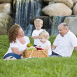 Happy Young Family Enjoy Picnic in Park — Foto de Stock