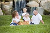 Happy Young Family Enjoy Picnic in Park — Stock Photo