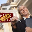 Stock Photo: Real Estate Agent with Keys in Front of Sold Sign and House
