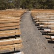 Outdoor Wooden Amphitheater Seating Abstract - Stock Photo