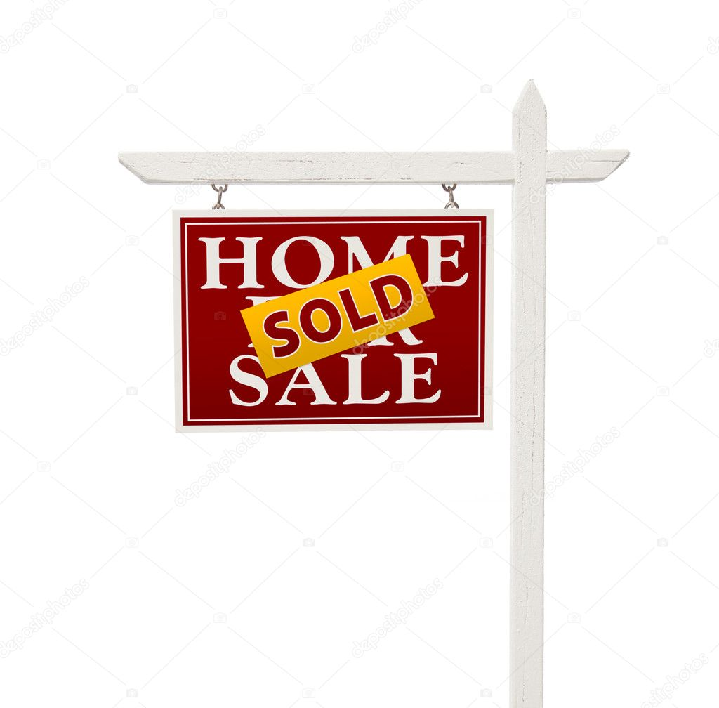 For Sale Sold Sign: Red Sold For Sale Real Estate Sign On White
