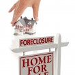Womans Hand Choosing Home with Foreclosure Real Estate Sign — Stock Photo #5720649