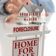 Foreclosure Sign in Front of Woman Reaching for House — Stock Photo #5720673
