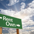 Stock Photo: Rent, Own Green Road Sign Against Clouds
