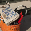 Always Wear Your Gloves Electricians Work Bag — Stock Photo