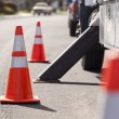 Orange Hazard Safety Cones and Work Truck — Stock Photo