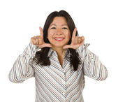 Attractive Multiethnic Woman with Hands Framing Face — Stock Photo
