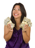Excited Multiethnic Woman Holding Hundreds of Dollars — Stock Photo