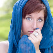Pretty Blue Eyed Young Red Haired Adult Female Outdoor Portrait - Stockfoto