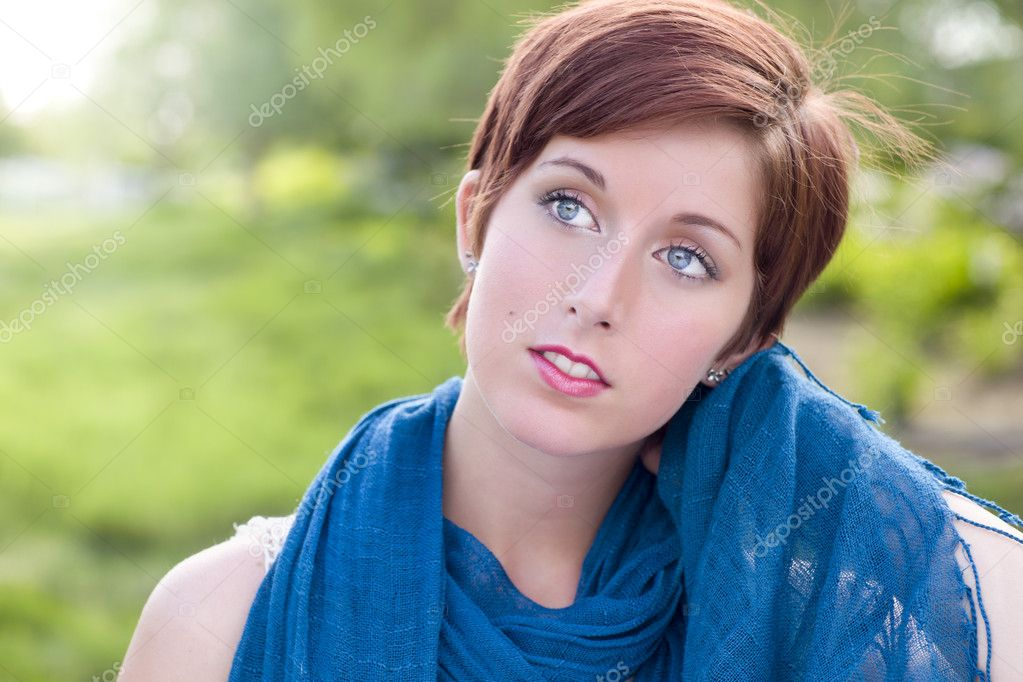 Outdoor Portrait of Pretty Blue Eyed Young Red Haired Adult Female with Blue ...