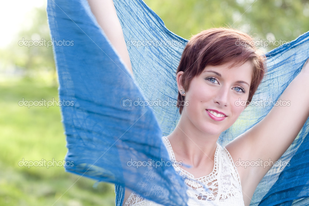 depositphotos 6287770 Pretty Blue Eyed Young Red Haired Adult Female Outdoor Portrait Computer Class: Attractive Female Adult Student Royalty Free Stock Photo