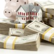 Small House and Piggy Bank with Stacks Money — Stock Photo #6547887