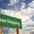 Free Shipping Green Road Sign - Stock Photo