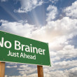 No Brainer Green Road Sign - Stock Photo