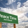 Peace Time Green Road Sign — Stock Photo