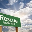 Rescue Green Road Sign — Stock Photo
