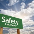 Safety, Just Ahead Green Road Sign — Stock Photo