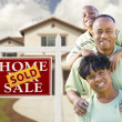 African American Family, House and Sold Sign — Stock Photo
