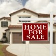 Home For Sale Real Estate Sign and House — Stock Photo