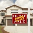 Sold Real Estate Sign and House — Stock Photo