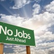 No Jobs Green Road Sign — Stock Photo