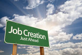 Job Creation Green Road Sign — Stock Photo