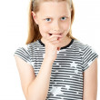 Portrait of a shy little girl on white — Stock Photo