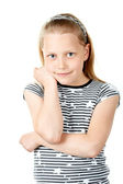 Portrait d'une petite fille mignonne sur blanc — Photo