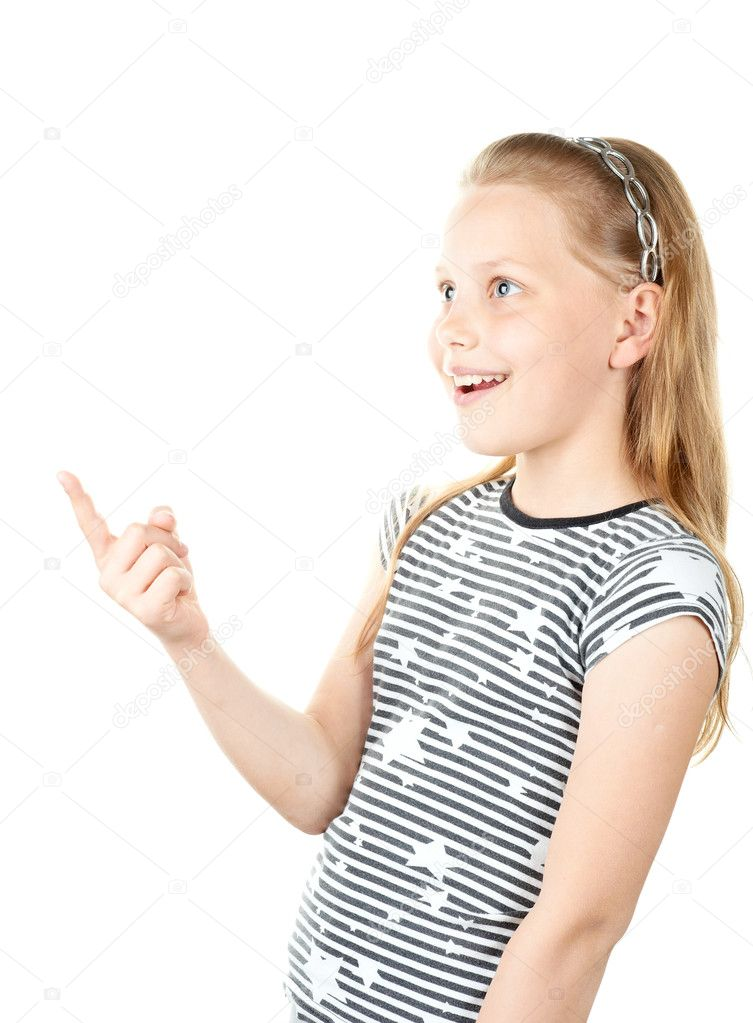 Surprised little girl pointing with finger — Stock Photo ...