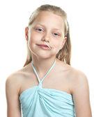 Cheerful little girl with lollipop — Stock Photo