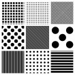 Vector striped and polka dots patterns — Stock Photo